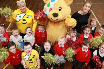 Pudsey Bear visits Ballycraigy PS on Asda's 19th year of fundraising for Children in Need
